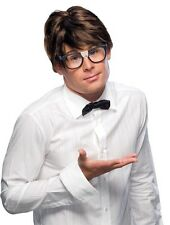 Mens Short Brown Hair Wig Nerd Geek Hipster Parted Style Halloween Costume Adult
