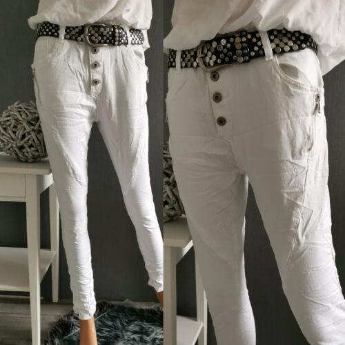 Jewelly Baggy Jeans weiss NEU XS S M L XL weiß Reißverschluss Knopfleiste Knöpfe