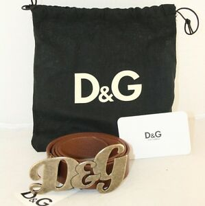 LUXUS-DOLCE-AND-GABBANA-GUERTEL-LOGO-DG-BELT-BRAUN-NEU-NEW-75
