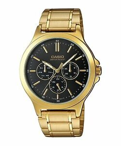 MTP-V300G-1A-Black-Casio-Men-039-s-Watches-Casio-Analog-Steel-Band