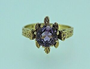 9ct-Yellow-Gold-Abstract-Amethyst-Ring-Size-M-1-2
