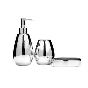 Magpie 3pc Silver Dolomite Soap Dish Lotion Dispenser Bath Tumbler