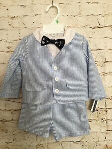Mud Pie Baby Boys Tan Seersucker  Short Suit with Tie NWT