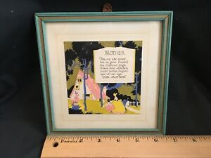 Print 1920s MOTHER Beautiful Little Print Original Framed Poem Mother Gorgeous Gatsby Girl on the Front Smelling Cherry Blossoms