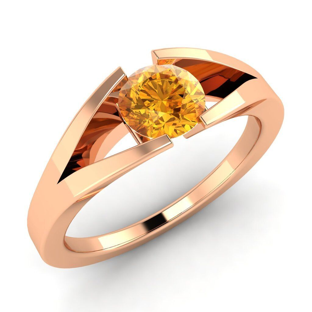Certified 14k pink gold 0.35ctw FINE Natural Citrine Solitaire Engagement Ring