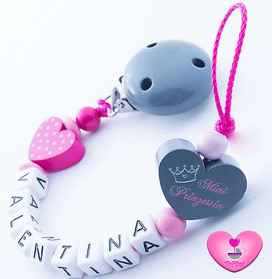Schnullerkette mit Namen ♥ Prinzessin ♥ Doppelnamen ★ lange Namen 11 Buchstaben
