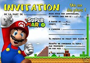 5 Ou 12 Cartes Invitation Anniversaire Mario Ref 299 Ebay