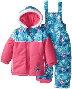 b9f6be1ac9b1 Details about Rugged Bear Baby Girl s Floral Print 2-PC Snowsuit Set Puffer  Jacket   Snow Bib