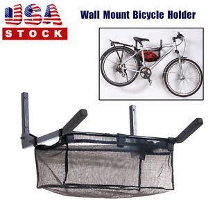 Foldable-Bike-Rack-Hook-Hanger-Indoor-Mounted-Bicycles-Space-Saver-amp-Storage-Net