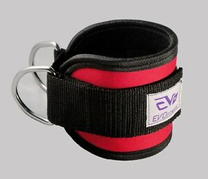 EVO-Pulley-Cable-Attachment-Neoprene-Ankle-Cuff-Gym-Strap-weightlifting-D-Ring-F