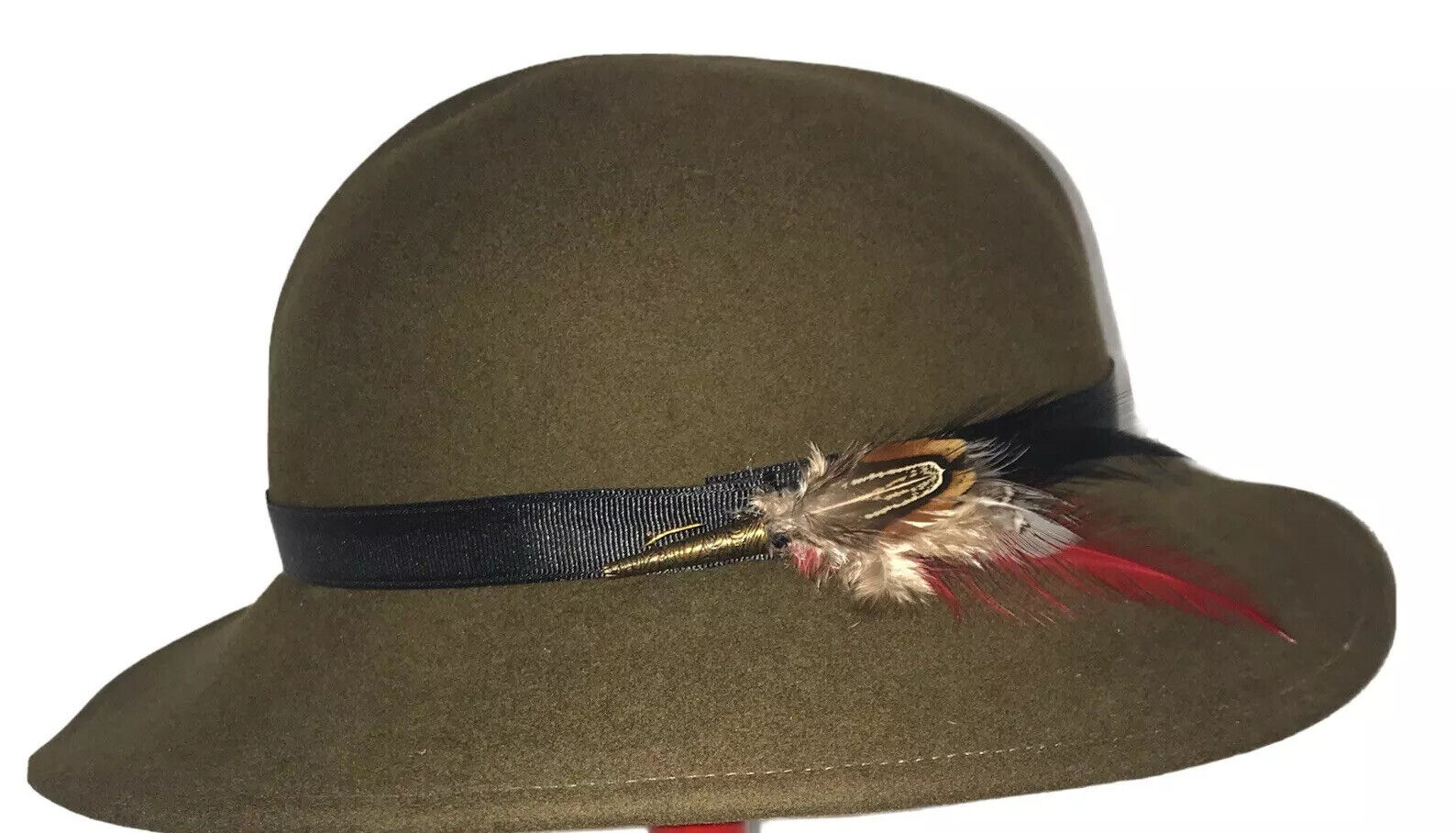 Vintage Halston Women's Hat Olive Green Wool Fea… - image 1