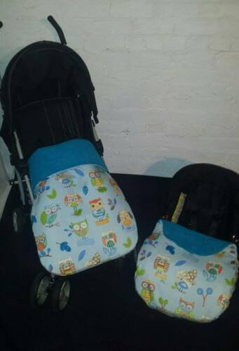 blue green owls birds stay put blanket//footmuff or carseat blanket//cover