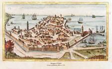 Mappa di Bari del 1761, Incisa e dipinta a mano su carta antica, cm. 42x30