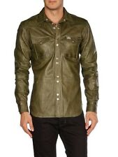 $698 NWT DIESEL LOCHABRE Green Sheep Leather Shirt Jacket Men's Large L