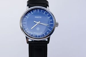 Russian-mechanical-watch-RAKETA-QUALITY-MARK-24H-Blue-dial-34-mm