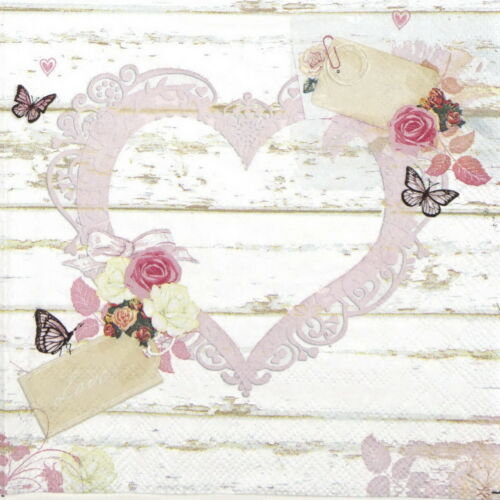4x Paper Napkins for Decoupage Decopatch Love Tags