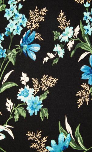 King louie Dress cross Rossville Black Flowers Turquoise Wraparound Look 03315