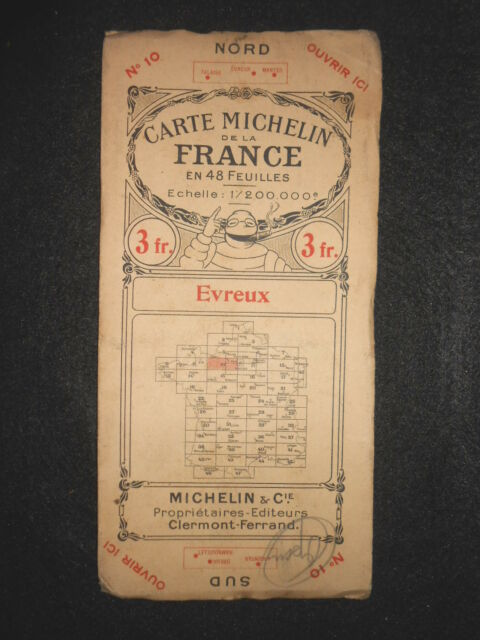 Vintage 1924 French Michelin Road Map of EVREUX (Feuille 10/Carte de la France)