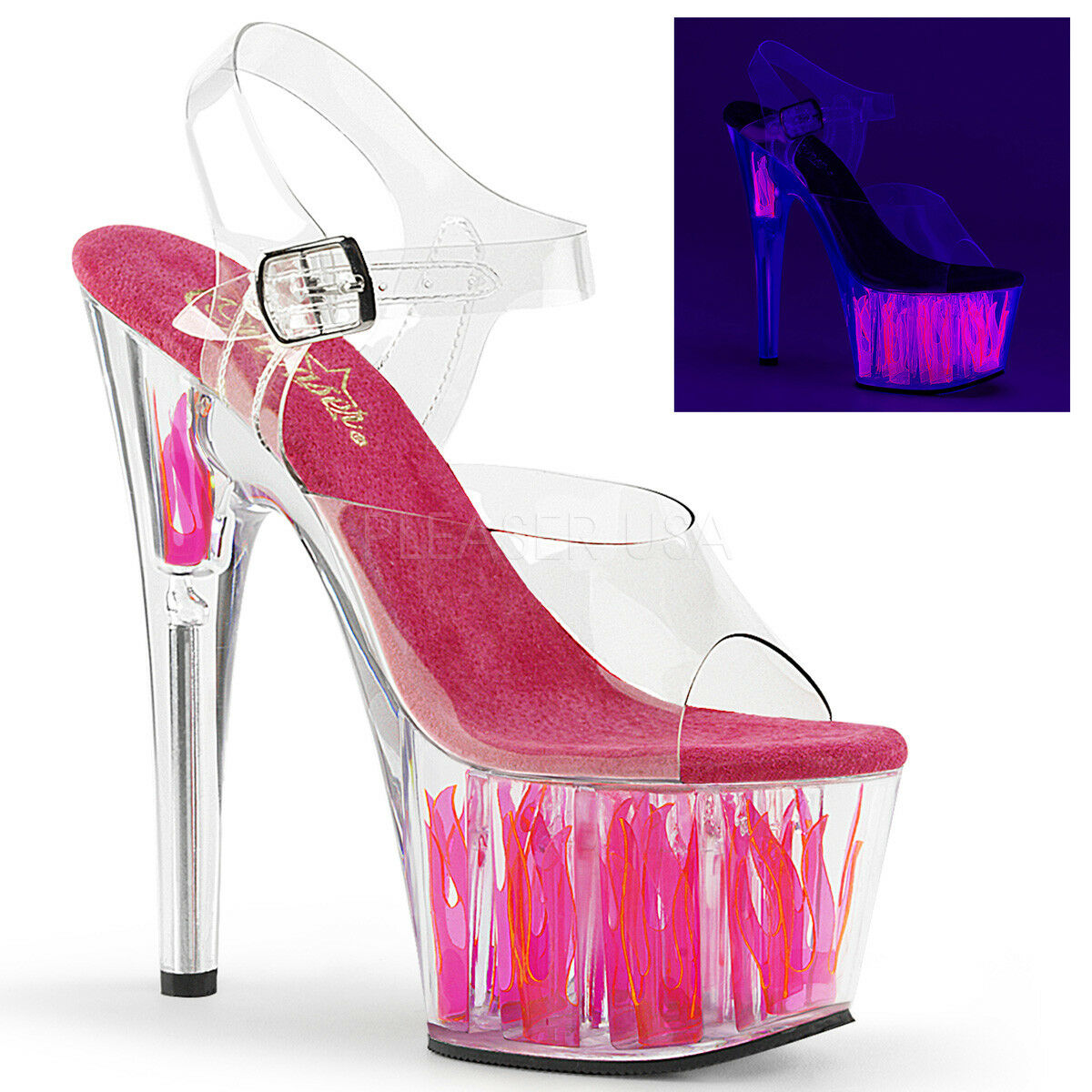 Pleaser ADORE-708FLM UV Rosa Flame Exotic Dancer Stripper Club Slide Sandal Heel