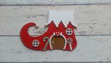 Hand Made Elf Boot Christmas Fairy Door Red Green