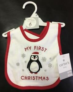"Carter/'s Baby Bib /""My First Christmas/"" One Size NWT"