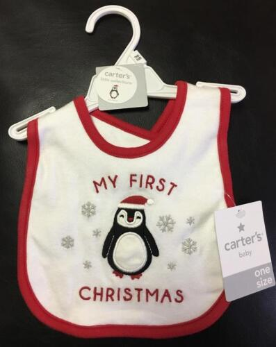 NEW Carter/'s MY FIRST CHRISTMAS Bib BABY BOY or GIRL PENGUIN
