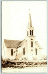 Milan-Minnesota-Newly-Constructed-United-Lutheran-Church-Steeple-RPPC-c1910