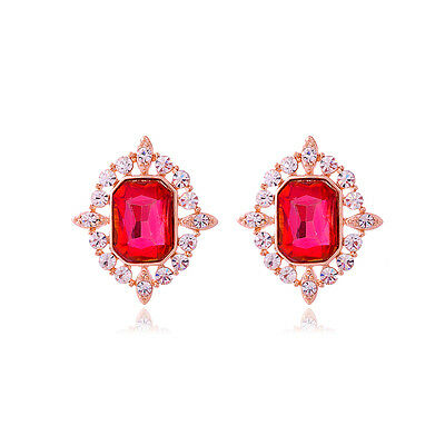 GORGEOUS ITALIAN LARGE 18K GOLD PLATED RUBY RED CUBIC ZIRCONIA STUD EARRINGS