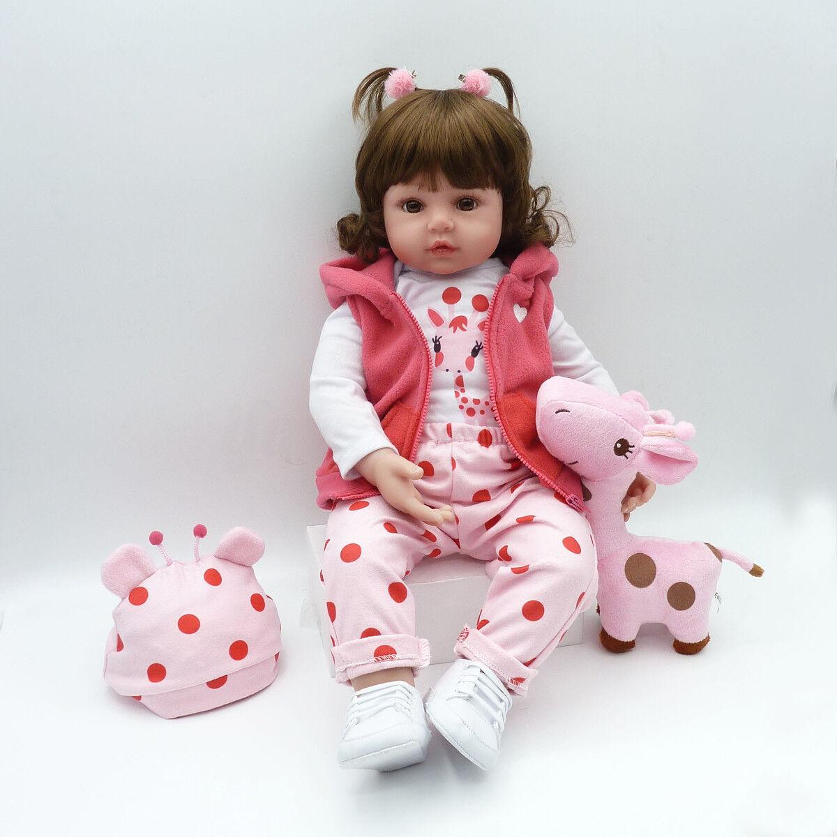 55cm Silikon Lebensecht Mädchen Reborn Baby Puppe Babypuppe Kleider + Nippel