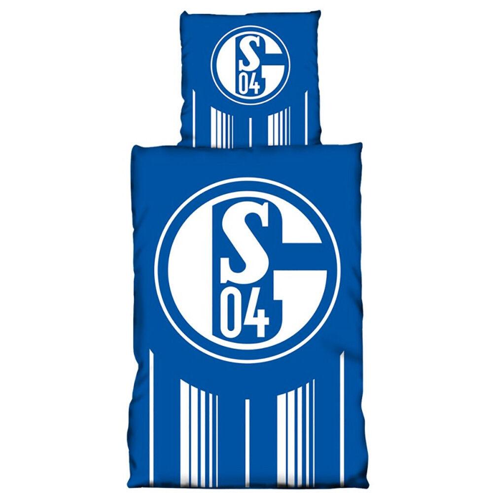 FC Schalke Schalke Schalke 04 Bettwäsche Streifen Weiß S04 Logo 135 x 200 572fe3