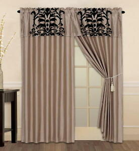 Luxury Flocking Taupe Black New Window Curtain Panels