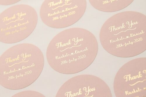 Wedding labels Thank you stickers Blush Pink Foil personalised stickers