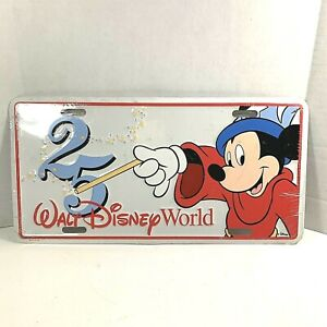 Walt Disney World 25th Anniversary Sorcerer Mickey License Car Plate