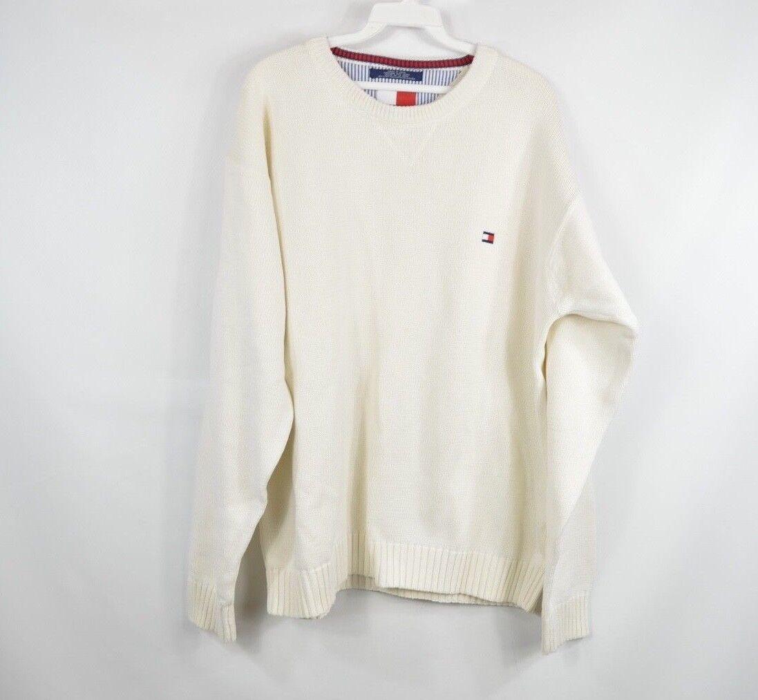 Vintage 90s Jahre Tommy Hilfiger Herren XL Flag Logo Rundhalsausschnitt Pullover