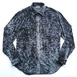Emporio-Armani-Size-XL-Gray-Shades-Long-Sleeve-Rare-Thick-Fleece-Dress-Shirt-EUC