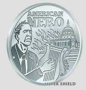 2014 Silver Shield 7 Sins of Obama 1 oz .999 Silver BU Round USA Bullion Coin