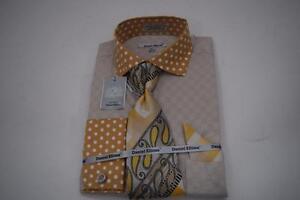 New-Daniel-Ellissa-Polka-Dot-Collar-Cuffs-Jacquard-Mustard-Dress-Shirt-DS3780P2