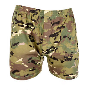Cotton Camouflage Army Boxer Shorts Elasticated Waistband - Multitarn