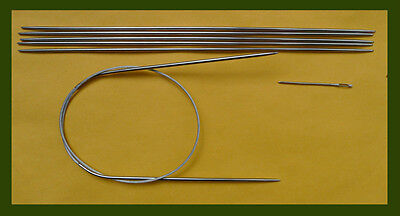"1B and 2B Stainless steel knitting needle set~ circular 24/"" US sizes 0"