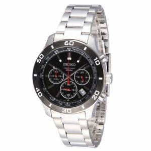 502779367 Seiko SSB053 Men's Black Dial Chrono Stainless Steel Silver-Tone ...