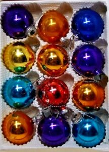 Vintage-Christmas-Ornaments-Hand-Blown-Glass-Germany-Mixed-Multi-Color-Lot-of-12