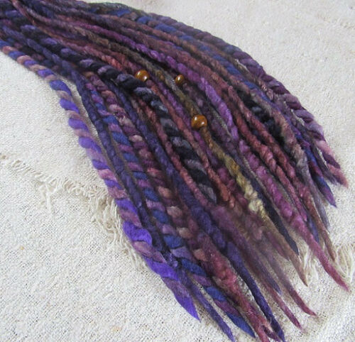 Dreads Skinny Accent Pack Double Ended Dreadlocks Purple Felted Wool Bohemian