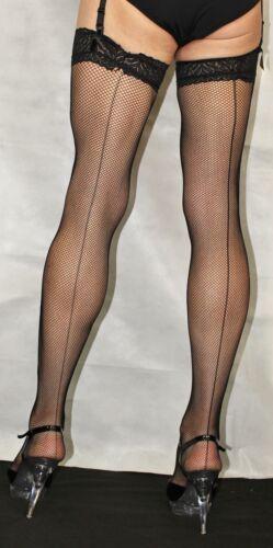 2 Pairs Medium Black Seamed LaceTop Fine Fishnet Stockings Suspender Friendly