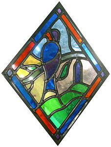 Framed-Print-Stained-Glass-Window-of-a-Swallow-Abstract-Picture-Animal-Bird