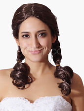 Chestnut Brown Long Curly Full Wig Center Parting Curls At Ends Fashion