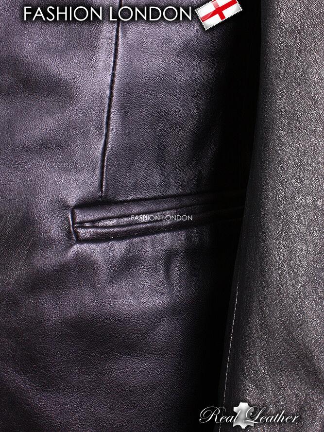 Blazer Nero Uomo's Classic Lambskin Petto semplice Singolo Petto Lambskin Casual Giacca In Pelle d6b142