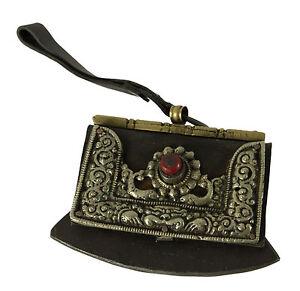 Antico Accendini Tibetano Per Silex-Cuir Ferro-Ottone cisele-corail-Tibet-8890