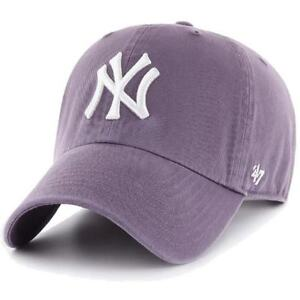 813a8fb159cad 47 Brand Mlb New York Yankees Clean Up Curved V Relax Fit Cap Purple ...