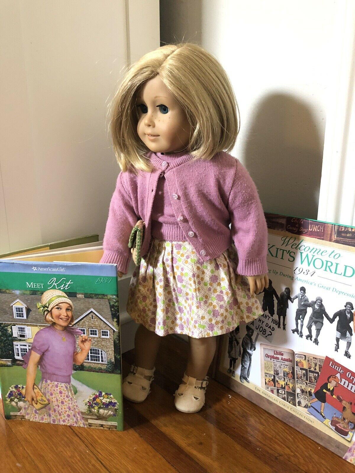 American Girl Doll Pleasant Company Kit Kittrotge With Books