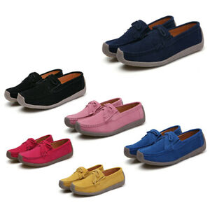 Size-5-10-Womens-Comfort-Real-Leather-Loafers-Moccasins-Casual-Flats-Pumps-Shoes